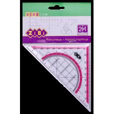 Косинець з транспортиром 90°/45° 140 мм рожевою смужка, блістер, KIDS Line