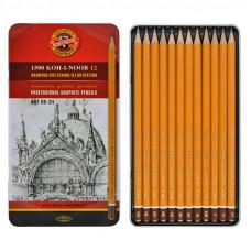 Набір олівців для креслення KIN 8В-2Н 12шт металева коробка Art