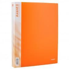 Папка 4 кільця Axent А4 з карман 700мкм прозора помаранчева