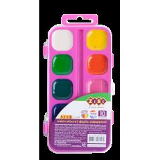 Акварель ZiBi KIDS Line  10 кол.,пластиковий кор рожева