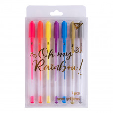 "Набір ручок гелевих YES 7шт неон ""Oh My Rainbow!"""